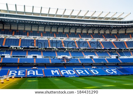 MADRID, SPAIN - MAR 11, 2014: Real Madrid inscription at the Santiago Bernabeu stadium. Santiago Bernabeu is a home arena for the Real Madrid Club de Futbol - stock photo