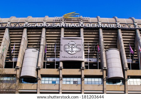 MADRID, SPAIN - MAR 11, 2014: Santiago Bernabeu stadium. Santiago Bernabeu is a home arena for the Real Madrid Club de Futbol - stock photo