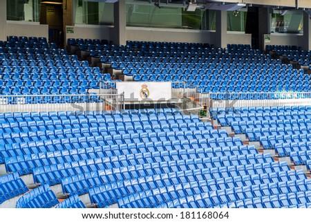 MADRID, SPAIN - MAR 11, 2014: View of the Santiago Bernabeu stadium. Santiago Bernabeu is a home arena for the Real Madrid Club de Futbol - stock photo