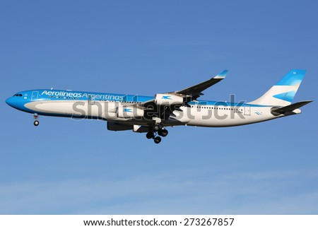 MADRID, SPAIN - MARCH 5:  An Aerolineas Argentinas Airbus A340 approaching on March 5, 2015 in Madrid. Aerolineas Argentinas is the Argentinian flag carrier airline with headquarters in Buenos Aires.