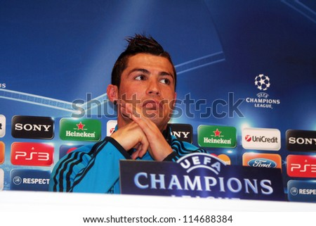 MADRID, SPAIN - MARCH 13: Cristiano Ronaldo press conference, pregame Champions League, CSKA Moscow on March 13, 2012 in Valdebebas. - stock photo