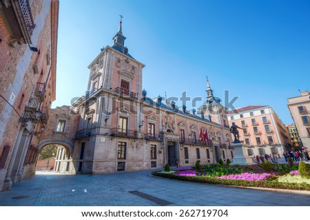 MADRID, SPAIN - MARCH 16, 2015: Plaza de La Villa with unidentified people in the old town of Madrid is probably the oldest civil square dating back to 15th century. - stock photo