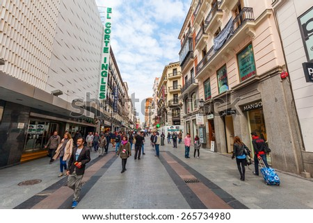 MADRID, SPAIN - MARCH 17, 2015: shopping street with unidentified people in Madrid. Madrid is the capital and largest city of Spain and the third largest city on the European Union.