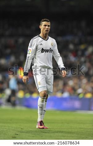 MADRID, SPAIN - March 16th, 2013 : Portuguese CRISTIANO RONALDO  of REAL MADRID in action during Spanish La Liga match at Santiago Bernabeu Stadium.  - stock photo