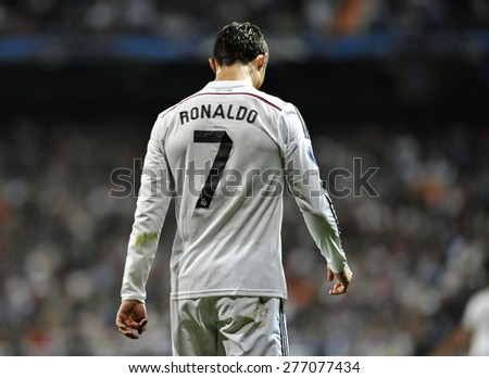 MADRID, SPAIN - March 10th, 2015 :  Portuguese CRISTIANO RONALDO of REAL MADRID on his back head down after missing a goal during Europe Champions League at Santiago Bernabeu Stadium - stock photo