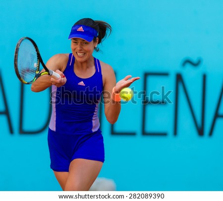 MADRID, SPAIN - MAY 5 :  Ana Ivanovic in action at the 2015 Mutua Madrid Open WTA Premier Mandatory tennis tournament - stock photo