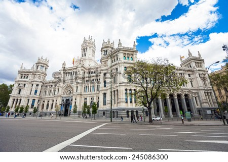 Madrid, Spain - May 6, 2012: City Hall of Madrid (Palacio de Cibeles), cultural center and monument of the city in Madrid, Spain