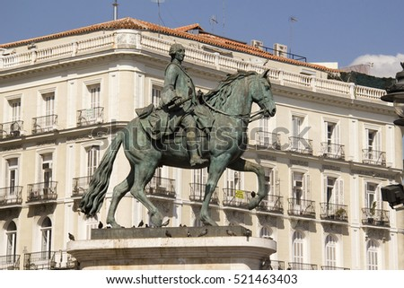 Madrid, Spain - May 27, 2016: Historical statue of King Philip III on the Plaza Mayor in Madrid, Spain on May 27, 2016
