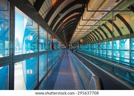 MADRID, SPAIN - MAY 28, 2014 Madrid airport interior - stock photo