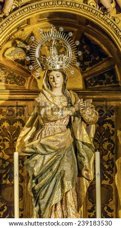 MADRID, SPAIN - MAY 8, 2014 Mary Crown Statue Basilica Santa Iglesia Collegiata de San Isidro Madrid Spain. Named after Patron Saint of Madrid, Saint Isidore, Church was created in 1651