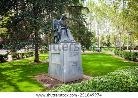 Madrid, Spain - May 11, 2012: Statue of poet Sister Juana Ines de la Cruz on a spring day dedicated by Mexico to Madrid, Spain