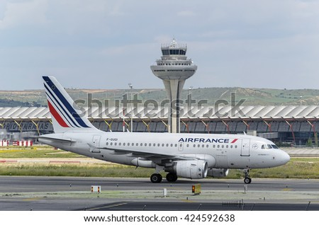 MADRID, SPAIN - MAY 15th 2016: Aircraft -Airbus A318- of -Air France- airline, direction to airport terminal of Madrid-Barajas -Adolfo Suarez- airport, after it has landed, on May 15th 2016. - stock photo