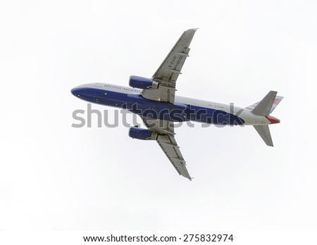 MADRID, SPAIN - MAY 3th 2015: Aircraft -Airbus A320-232-, of -British Airways- airline, is taking off from Madrid-Barajas -Adolfo Suarez- airport, on May 3th 2015. - stock photo