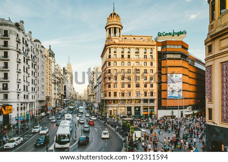 MADRID, SPAIN - MAY 9: View of Callao Square and Gran Via, one of the main streets and most famous landmarks of the city, on May 9, 2014 in Madrid, Spain - stock photo