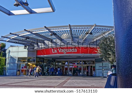 MADRID, SPAIN - NOVEMBER 17, 2016: Entrance into La Vaguada commercial center. La Vaguada, designed by the architect Cesar Manrique, was the first commercial center opened in Madrid in 1983.