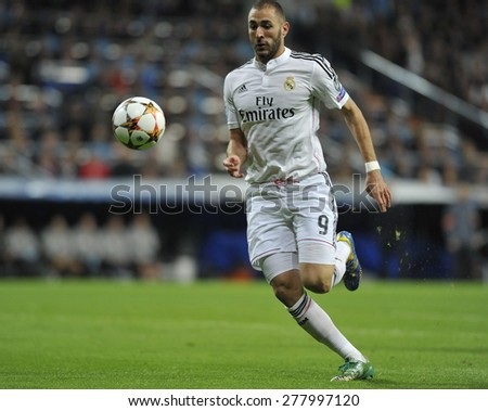 MADRID, SPAIN - November 11th, 2014 :  French player KARIM BENZEMA of REAL MADRID in action vs LIVERPOOL during the UEFA Champions League match at Santiago Bernabeu Stadium  - stock photo