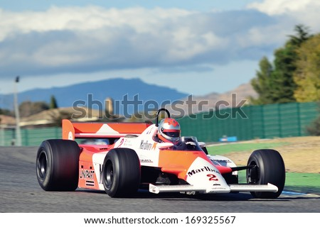 MADRID, SPAIN - OCT 30 : British driver Bobby Verdon-Roe races in a McLaren MP4 1B during the Jarama Vintage Festival, on Oct 30, 2011 in Madrid, Spain.