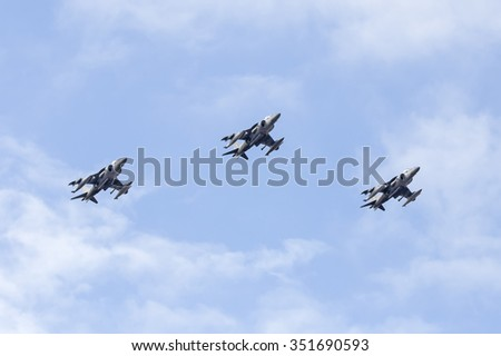 MADRID-SPAIN - OCTOBER 12:AV8B Harrier during Air Parade in National Fest acts on October 12, 2015 in Madrid,Spain.