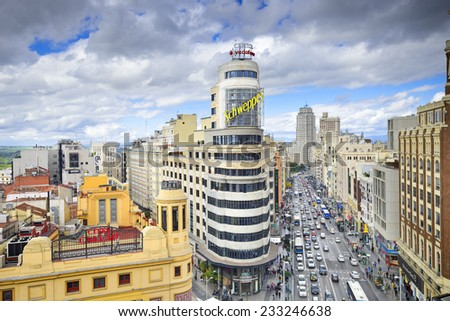 MADRID, SPAIN - OCTOBER 15, 2014: Gran Via at the Iconic Schweppes Building. The street is the main shopping district of Madrid. - stock photo