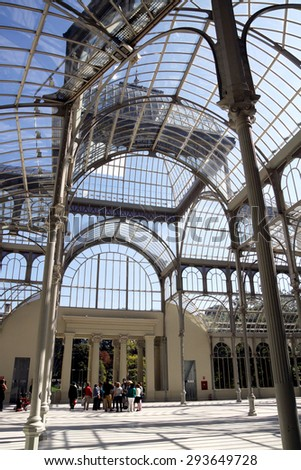 MADRID, SPAIN - OCTOBER 08, 2013: Inside the Crystal Pavilion in the Retiro royal Park in the style of early modernism, Madrid - stock photo