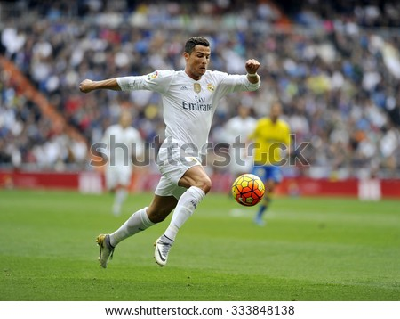MADRID, SPAIN - October 31st, 2015 :  Portuguese CRISTIANO RONALDO of REAL MADRID in action during Spain La Liga match vs Las Palmas at Santiago Bernabeu Stadium  - stock photo