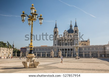 MADRID, SPAIN - OCTOBER, 2016: The landmark of Madrid: Madrid Cathedral Santa Maria la Real de La Almudena.