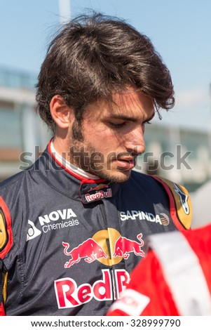MADRID, SPAIN - OCTOBER 3 2015. XXIX European Truck racing Championship, Jarama circuit. Formula I pilot Carlos Sainz.