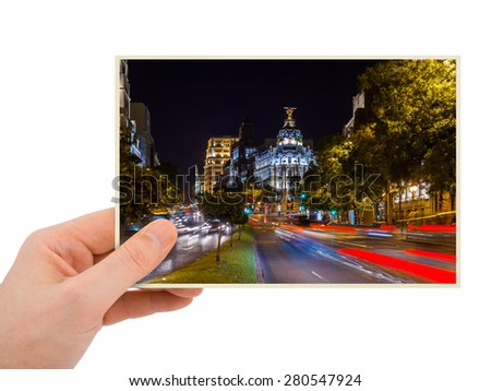 Madrid Spain photography in hand (my photo) isolated on white background - stock photo