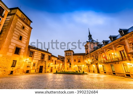 Madrid, Spain. Plaza de La Villa in the old town of Madrid is probably the oldest civil square dating back to 15th century. - stock photo