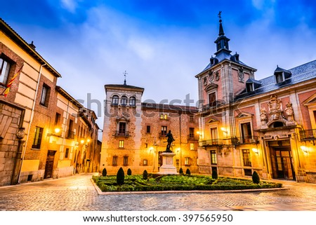 Madrid, Spain. Plaza de La Villa in the old town, the oldest civil square dating back to 15th century. - stock photo