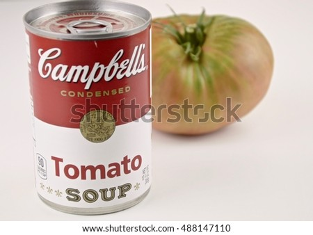 MADRID, SPAIN - SEPTEMBER 24: Can of Campbellâ??s tomato soup on September 24, 2016 in Madrid, Spain.
