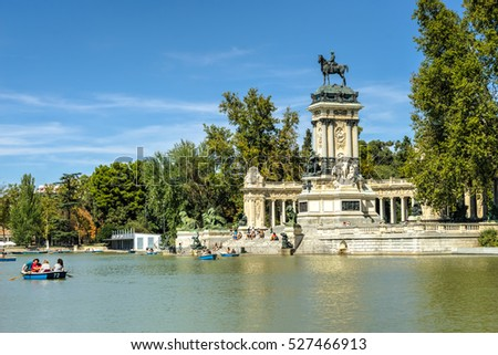 Madrid,Spain,September 21, 2016: Monument of  Alfonso XII at Parque del Retiro