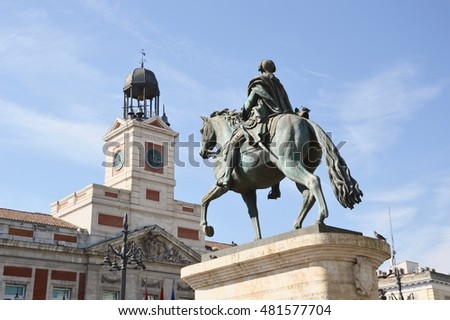 MADRID, SPAIN - SEPTEMBER 11: Puerta del Sol on september 11, 2016 in Madrid, Spain.