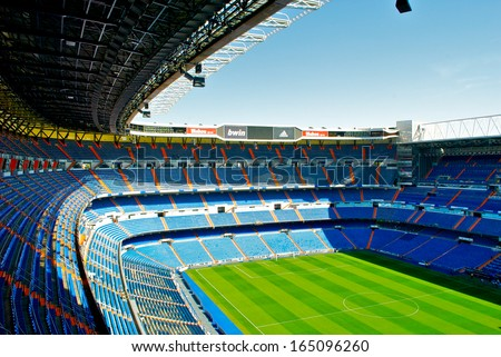 MADRID, SPAIN - SEPTEMBER, 2012: Santiago Bernabeu stadium in Madrid, Sept. 20, 2012. It's a home arena for the Real Madrid CF. - stock photo
