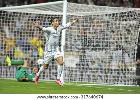 MADRID, SPAIN - September 15th, 2015 :  CRISTIANO RONALDO of REAL MADRID celebrates scoring goal during UEFA Champions League match vs SHAKHTAR DONETSK at Santiago Bernabeu Stadium - stock photo