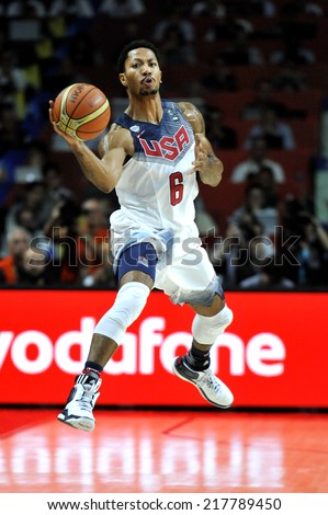 MADRID, SPAIN - September 14th 2014 : DERRICK ROSE of USA in action during the Final game of FIBA BASKETBALL WORLD CUP 2014 at Palacio de los Deportes Arena - stock photo