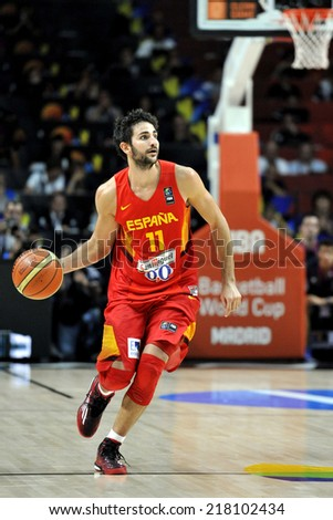 MADRID, SPAIN - September 10th 2014 : RICKY RUBIO of Spain in action during the 1/4 final game versus France of the FIBA BASKETBALL WORLD CUP 2014 at Palacio de los Deportes Arena - stock photo