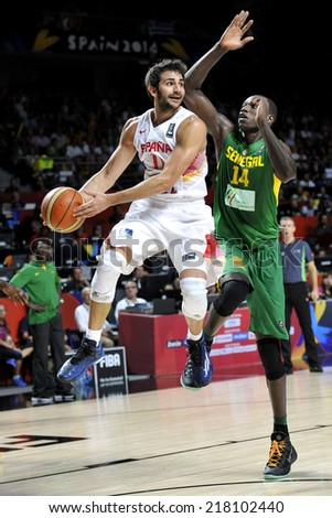MADRID, SPAIN - September 6th 2014 : RICKY RUBIO of Spain in action during the 1/8 final game versus Senegal of the FIBA BASKETBALL WORLD CUP 2014 at Palacio de los Deportes Arena - stock photo