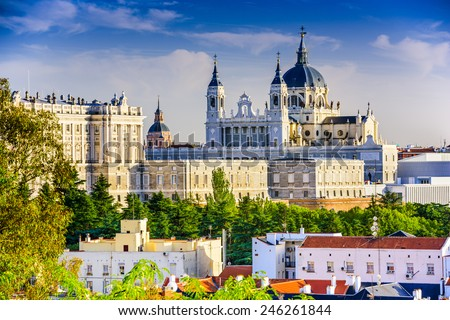 Madrid, Spain skyline at Santa Maria la Real de La Almudena Cathedral and the Royal Palace. - stock photo