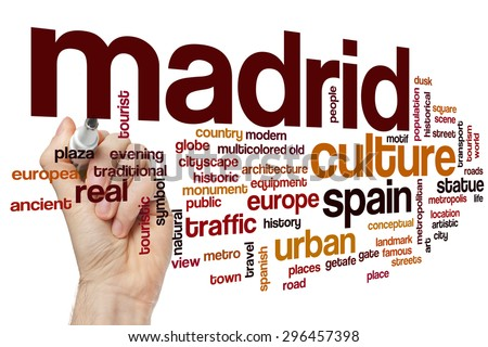 Madrid word cloud concept - stock photo