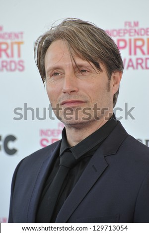 Mads Mikkelsen at the 2013 Film Independent Spirit Awards on the beach in Santa Monica. February 23, 2013  Santa Monica, CA Picture: Paul Smith - stock photo
