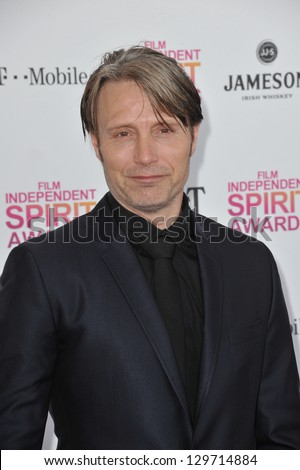 Mads Mikkelsen at the 2013 Film Independent Spirit Awards on the beach in Santa Monica. February 23, 2013  Santa Monica, CA Picture: Paul Smith