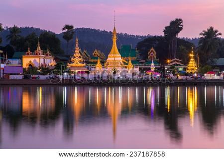 MAE HONG SON, THAILAND - NOVEMBER 19, 2014: Pagoda of Wat Chong Klang in Mae Hong Son, Thailand - stock photo