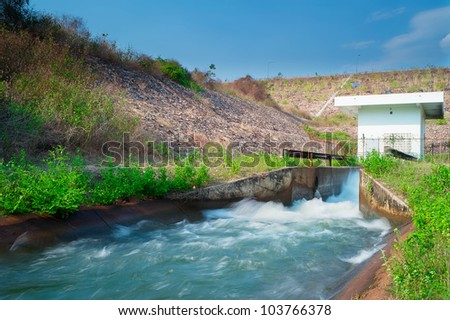 Mae Kuang Dam small canal, Chiang Mai, Thailand. - stock photo