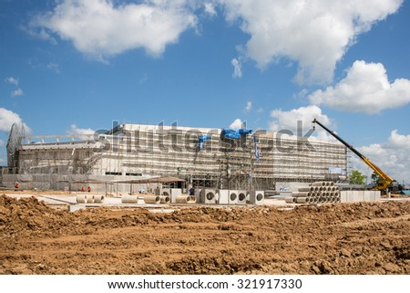 MAE SOT THAILAND - SEP26 : Modern Trade Robinson with area 54,000 square meters to become a new landmark  is under construction planned open in late 2015 at Mae Sot, Tak, Thailand on SEPTEMBER26,2015