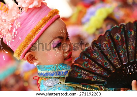 MAEHONGSON, THAILAND-APRIL 04: Poy Sang Long Ethnic buddhist ordination festival, during in parade around township on April 04, 2015 in Mae Hong Son Province, Thailand.Thailand.Unidentified  - stock photo