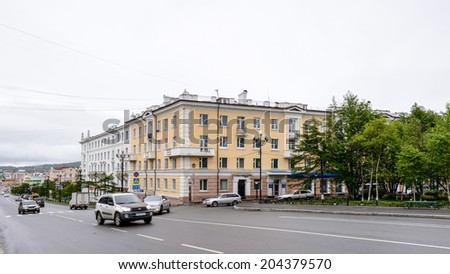 MAGADAN, RUSSIA - JUL 4, 2014: Soviet architecture of Magadan, Russia. Magadan was founded in 1929 and now it's the administrative centre of the Magadan region.