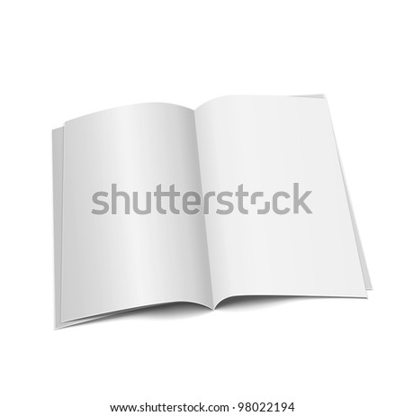 magazine blank, page template for design on white background - stock photo