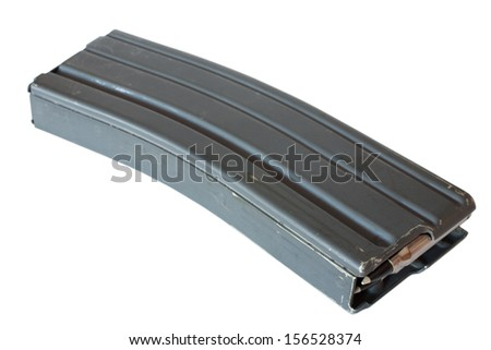 Magazine for an assault rifle loaded with polymer tipped bullets - stock photo