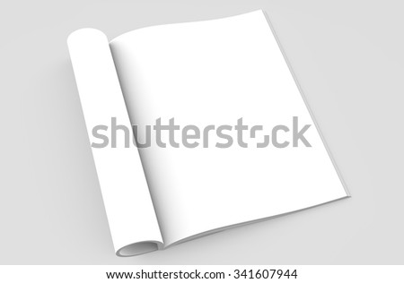 Magazine open on a grey background for your mockup - stock photo